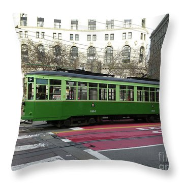 Green Trolley Throw Pillow
