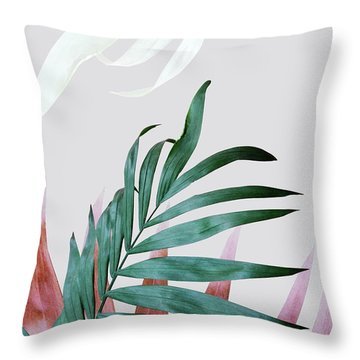 Green Tropical Leaves, Fern Plant Throw Pillow