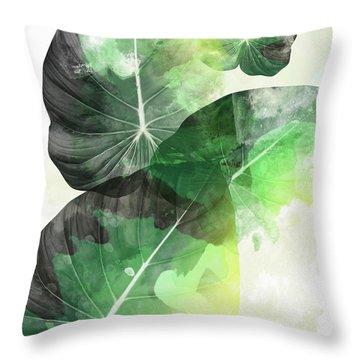 Green Tropical Throw Pillow