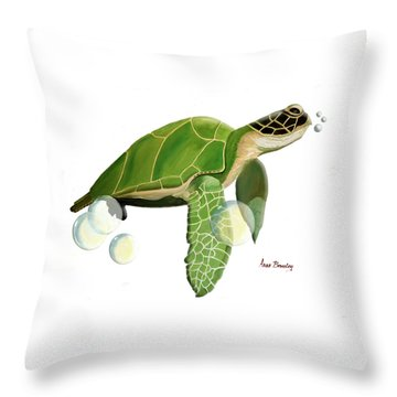 Throw Pillow featuring the painting Green Turtle by Anne Beverley-Stamps