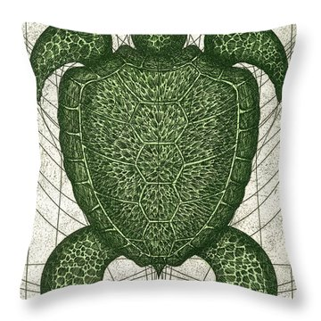 Green Turtle Throw Pillow by Charles Harden