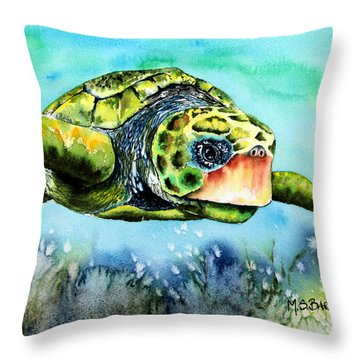 Green Turtle Throw Pillow by Maria Barry