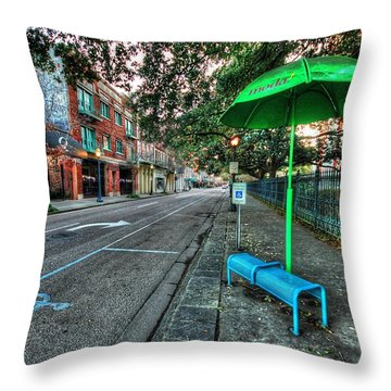 Green Umbrella Bus Stop Throw Pillow