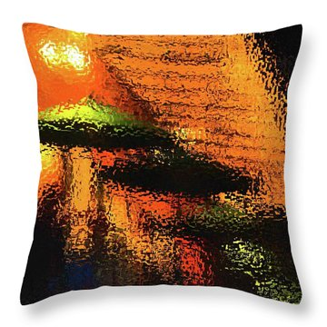 Green Umbrellas New Orleans Throw Pillow
