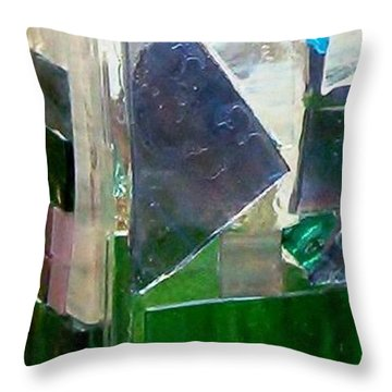 Throw Pillow featuring the glass art Green Vase by Jamie Frier