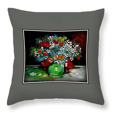 Green Vase With Flowers Throw Pillow