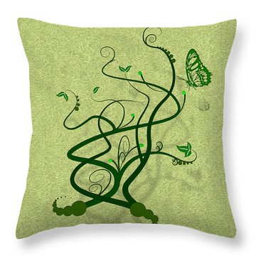 Green Vine And Butterfly Throw Pillow by Svetlana Sewell