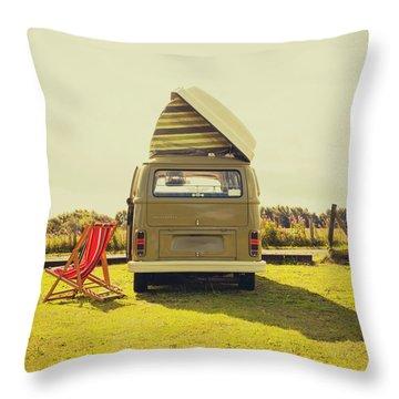 Green Vw T2 Camper Van Rear View Throw Pillow