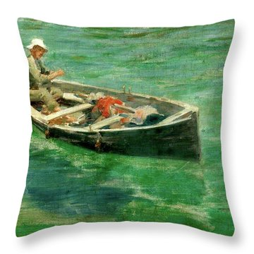 Throw Pillow featuring the painting Green Waters by Henry Scott Tuke