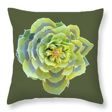 Green Weed Flower Kaliedoscope Throw Pillow