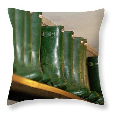 Green Wellies Throw Pillow