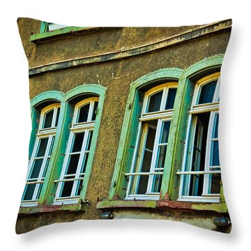 Green Windows Throw Pillow by Jill Smith