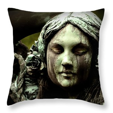 Green Woman A Portrait Throw Pillow