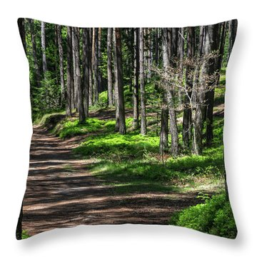 Green Wood Throw Pillow