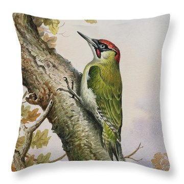 Green Woodpecker Throw Pillow by Carl Donner