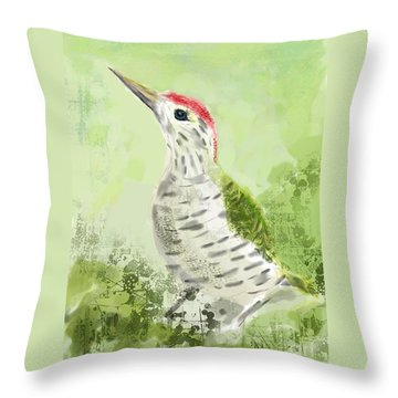 Green Woodpecker Throw Pillow