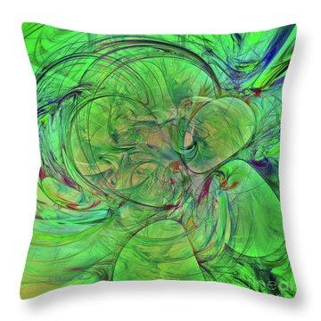 Throw Pillow featuring the digital art Green World Abstract by Deborah Benoit