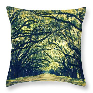Green World Throw Pillow by Carol Groenen