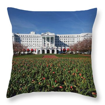 Throw Pillow featuring the photograph Greenbrier Resort by Laurinda Bowling