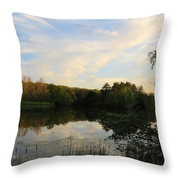 Greenfield Pond Throw Pillow by Kimberly Mackowski