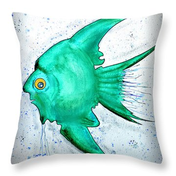 Throw Pillow featuring the mixed media Greenfish by Walt Foegelle