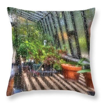 Greenhouse - In A Greenhouse Window  Throw Pillow by Mike Savad