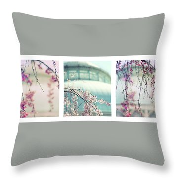 Throw Pillow featuring the photograph Greenhouse Blossoms Triptych by Jessica Jenney