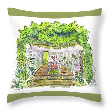 Greenhouse To Volcano Garden Arts Throw Pillow
