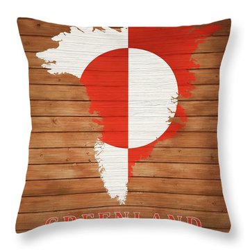 Greenland Rustic Map On Wood Throw Pillow
