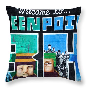 Greenpoint Brooklyn Wall Graffiti Throw Pillow