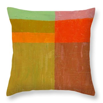 Greens And Reds Throw Pillow by Michelle Calkins