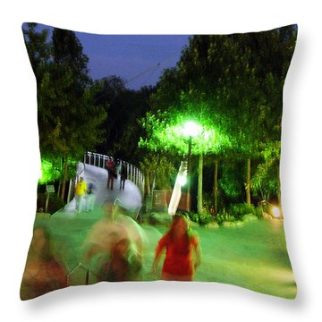 Greenville At Night Throw Pillow