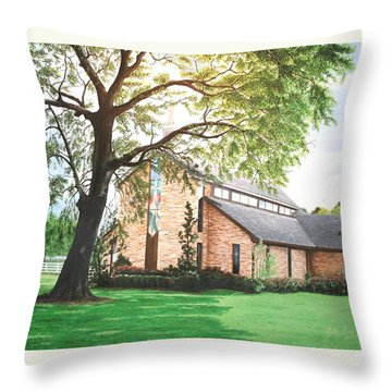 Throw Pillow featuring the painting Greenwood by Mike Ivey