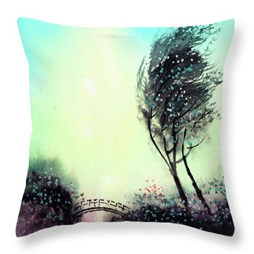 Throw Pillow featuring the painting Greeting 1 by Anil Nene