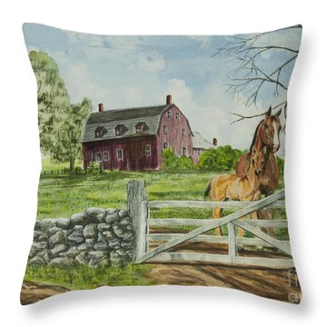 Greeting At The Gate Throw Pillow by Charlotte Blanchard