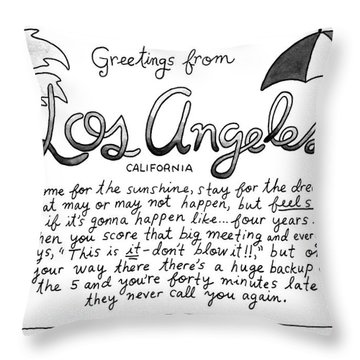 Greetings From Los Angeles Throw Pillow
