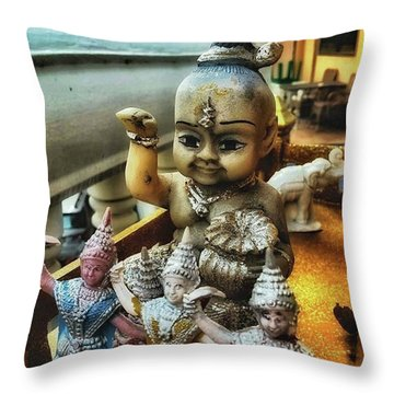 Throw Pillow featuring the photograph Greetings From Thailand. These Jolly by Mr Photojimsf