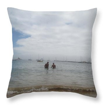 Greetings From The Beach Throw Pillow by Anamarija Marinovic