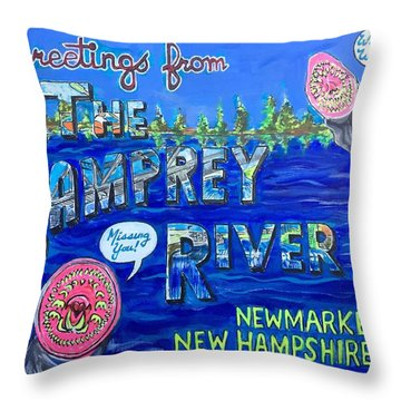 Greetings From The Lamprey River Throw Pillow