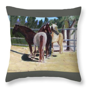 Throw Pillow featuring the painting Gregory And His Mares by Linda Feinberg