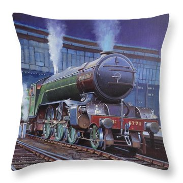 Throw Pillow featuring the painting Gresley Green Arrow Class. by Mike  Jeffries