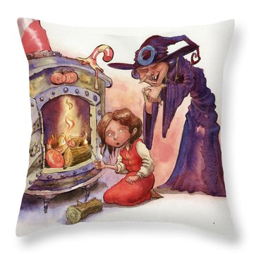 Gretel And Witch Throw Pillow