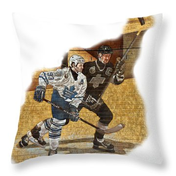 Gretzky And Gilmour Throw Pillow by Andrew Fare