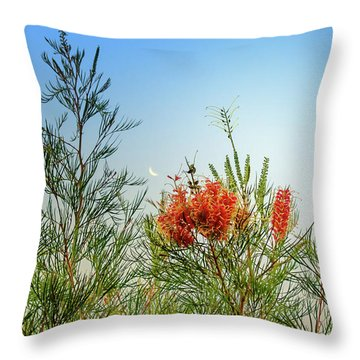 Grevillea With Moon Throw Pillow