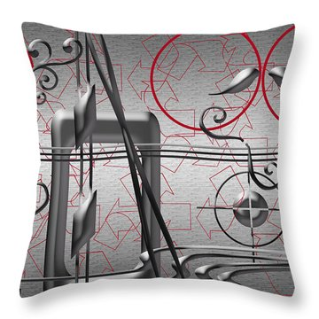 Grey And Red Circles Throw Pillow