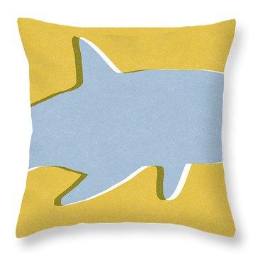 Grey And Yellow Shark Throw Pillow