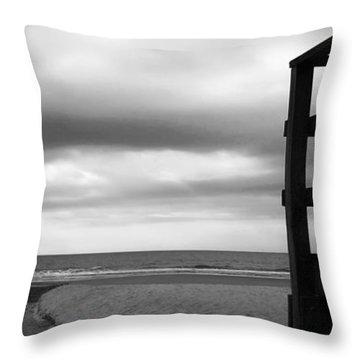 Grey Beach Throw Pillow