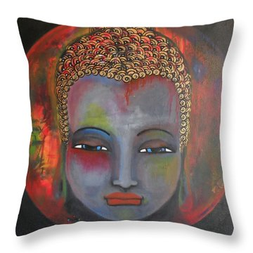 Grey Buddha In A Circular Background Throw Pillow