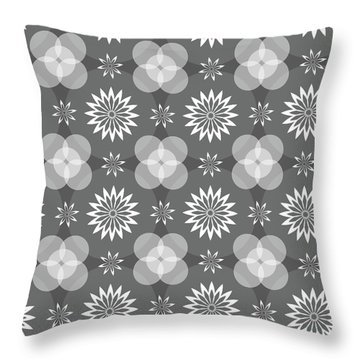 Grey Circles And Flowers Pattern Throw Pillow