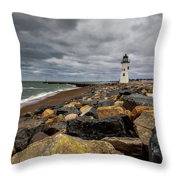 Grey Day At Scituate Lighthouse Throw Pillow